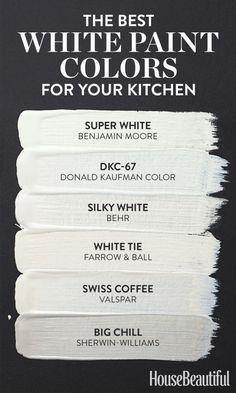 White kitchen paint colors - 6 White Paint Colors Perfect for Kitchens – White kitchen paint colors Best White Paint, White Paint Colors, Kitchen Paint Colors, Interior Paint Colors, White Paints, Wall Colors, House Colors, Best Color For Kitchen, Interior Painting
