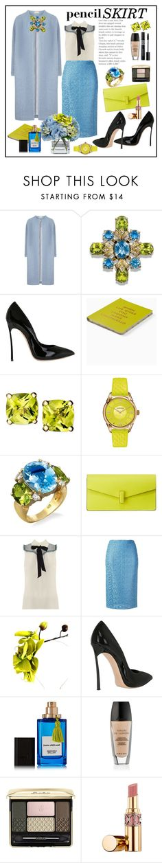 """Pencil skirt"" by tiana212 ❤ liked on Polyvore featuring Casadei, Kate Spade, Versace, Valextra, Miu Miu, Ermanno Scervino, Diane James, Crown and Glory, Diana Vreeland Parfums and Guerlain"