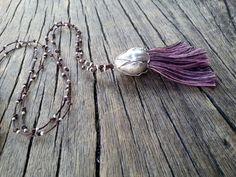 Purple Tassel Necklace Sterling Silver Oversize by PiscesAndFishes