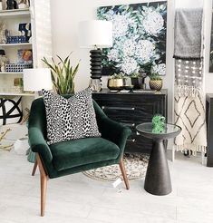 Pssst this chair is on sale for $895 from $1295 (in store only). Lovely green velvet hue with shapely legs and back.