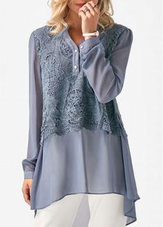 Grey Long Sleeve Lace Panel Chiffon Blouse on sale only US$33.00 now, buy cheap Grey Long Sleeve Lace Panel Chiffon Blouse at liligal.com