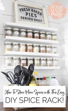 If you cook much, you know how important spices and seasonings are. Here's how to store more spices with our easy DIY spice rack. Diy Spice Rack, Spice Storage, Spice Organization, Diy Kitchen Storage, Diy Storage, Storage Ideas, Bathroom Organization, Organizing Ideas, Stair Storage