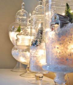Go festive with your terrariums + turn them into a snowy winter wonderland.