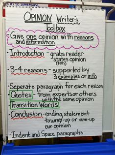 "OPINION WRITING: Step by Step Reference Chart (Be sure to correct the spelling of ""separate"" if you recreate this!)"