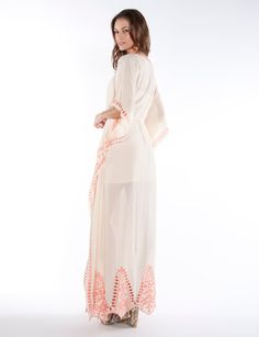 Ivory Cut Out Details Kaftan Dress. Price $74.50