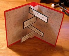 Handmade Card idea. Clever easy pop up. Christmas Birthday Valentines. Would work with any writing!