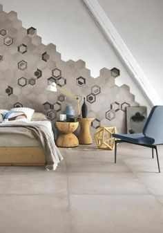 Hexagonal Wall Tiles by Ragno Wall And Floor Tiles, Wall Tiles, 3d Wall Panels, Interior Design Studio, Tile Design, Decoration, Interior Design Living Room, Wall Decor, Furniture