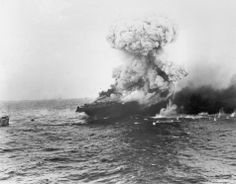 June 1942: The USS Lexington, U.S. Navy aircraft carrier, explodes after being bombed by Japanese planes in the Battle of the Coral Sea in the South Pacific during World War II.