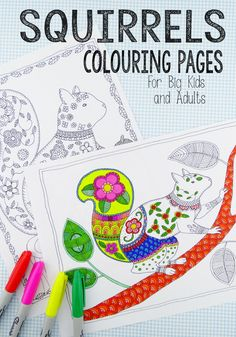Love colouring? Check out these wonderful Colouring Pages for Grown Ups - perfect for Autumn with these adorable Squirrels.