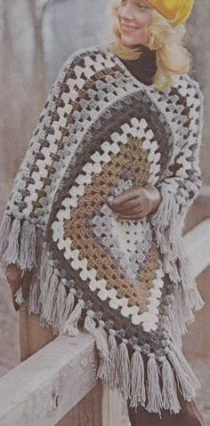 Vintage Crochet Pattern Quick Granny Poncho by LittleGalsStudio, $2.50
