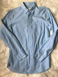 480445e32fe Club Monaco Size S Light Blue Cotton Pocket Casual Long Sleeve Shirt. Denim Button  UpButton ...