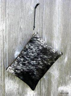 Black and White Speckled Cowhide Leather Clutch Bag by Stacy Leigh Ready to Ship