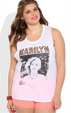 Deb Shops Plus Size Tank Top with Braided Back and Floral Marilyn Monroe Screen $23.00