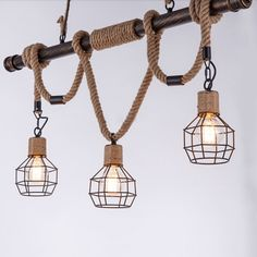 Antique Bronze Hemp Rope Chandelier Industrial Retro Linear 3 Light Pendant with Wire Cage, Fashion Style Industrial Lighting Rope Pendant Light, Island Pendant Lights, Pendant Light Fixtures, Beach Style Lighting, Cabin Lighting, Hanging Chandelier, Chandelier Lighting, Kitchen Chandelier, Home Design