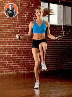 Jumping rope can challenge even the conditioned runner, so start conservatively with six stints lasting 30 to 60 seconds each.    Run in place, focusing on high knees.  Rest 30 to 60 seconds between each round.  Build up to three minutes.