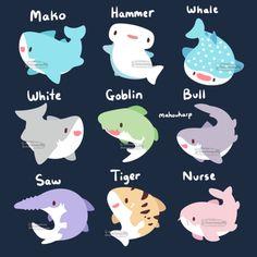 Cute Kawaii Animals, Cute Animal Drawings Kawaii, Cute Drawings, Kawaii Doodles, Cute Doodles, Kawaii Art, Shark Drawing, Shark Art, Cute Shark