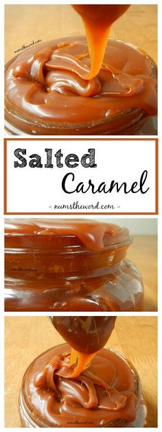 3 ingredient homemade Salted Caramel Sauce. Perfect for pies, brownies, ice cream or cupcakes! #dessert #caramel #caramelsauce #saltedcaramel #salted #3ingredients #3ingredientrecipe #icecream #cupcakes #sauce #topping #numstheword #recipe
