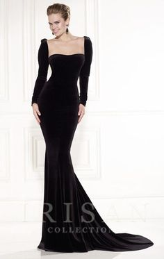 Elegant Long Sleeve Velvet Floor Length Evening Gown alice grows up and gets demur sleek sophsticated and a little bit gothic for that halloween ball , party event , bring out your inner morticia addams or femme fatale in this velvet gown with georgian bustier collar , slimming fishtail skiry and figure hugging sleeves ,make a statement at any party , great for christmas , prom or formal evening event , make others green with envy in this classic black dress real hollywood glamour, titanic…
