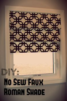 DIY No Sew Faux Roman Shade- not this fabric but I want to try this in my kitchen!