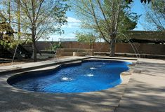 "Congratulations to Lee-Sure Pools of Albuquerque, NM for helping another family achieve their life of leisure through the enjoyment of a Leisure Pools ""Caribbean"" composite fiberglass swimming pool.  This pool features a wide wrap-around front bench area within its 40 feet length and 16 feet width.  Learn more at www.leesurepools.com if you're in the Albuquerque area or go to LeisurePoolsUSA.com to discover your local professional dealer - and live your life of leisure."
