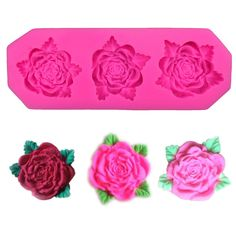 1 x Three Roses Silicone Mold Mold Size: 12.3 cm x 4.5 cm x 1.3 cm (W X L X H) Material: Silicone Temperature: -40° ~ +230° ★ Easy to clean ★ Food Safe, FDA Approved ★ Can be used in the refrigerator,