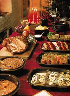 Dinner, during Christmas, is a sumptuous feast. There is ham or pork roast, casseroles with carrots and rice, or rutabaga. Several kinds of fish including herring and cod, lots of whole grain breads, prune tarts, and berry pudding. The holiday drink is glogg, which is a mulled wine.