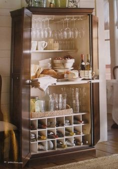 Turn an old Armoire into a bar and wine center