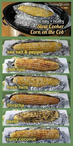 WHAAAAT!?? Slow Cooker Corn on the Cob. Easy, healthy, and delicious with no butter. This is an easy, healthy way to cook 6-10 ears of moist, tender, flavorful corn on the cob.