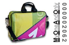MyOneAndOnly DELOS 2062 Laptop bag made from reused banners. Each bag is unique and has a number for it. Eco Friendly Bags, Laptop Bag, Bag Making, Banners, Number, Unique, Accessories, Design, Banner