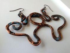 Artsy Heart Hammered Copper Blue Earrings by JennieVargasJewelry,