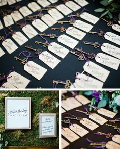 """Handlettered Key Escort Tags for a """"Home""""-themed Wedding by Greatest Story Weddings 