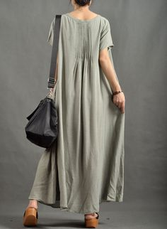 Women Light Green Cotton Linen Dress Maxi Sundress by MordenMiss