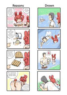 Bunny Girl Green Tea Neko, Fan Art Anime, Guys Thoughts, Funny Memes, Jokes, Funny Comics, Random Things, Random Stuff, Cartoon