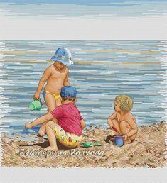ВЫШИТО: дизайнерские схемы Cross Stitch Sea, Cross Stitch For Kids, Seaside Beach, Beach Mat, Beach Scenes, Cross Stitch Designs, Sailor, Outdoor Blanket, Boat