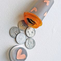 Turn your old pill bottle into a quarter holder which you can store in your car for convenience.  Photo: Sarah Lipoff