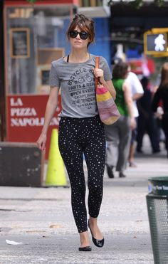rose byrne printed pants graphic tee