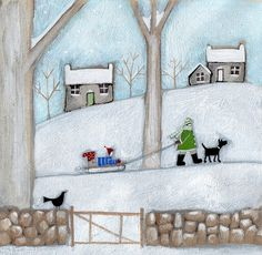 Going Sledging Original by Louise Rawlings *SOLD* - The Acorn Gallery - Beautiful and Unique Artwork Rug Inspiration, Art Archive, Naive Art, Winter Art, Christmas Art, Xmas, Art Lessons, Home Art, Art Projects