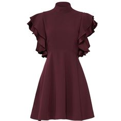 Cinq à Sept Plum Ruffle Dress (240 BRL) ❤ liked on Polyvore featuring dresses, flutter-sleeve dresses, frilled dress, frill dress, ruffle trim dress and purple cocktail dresses