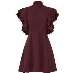 Cinq à Sept Plum Ruffle Dress (245 PEN) ❤ liked on Polyvore featuring dresses, purple dresses, ruffle trim dress, flounce dress, flouncy dress and ruffle dress