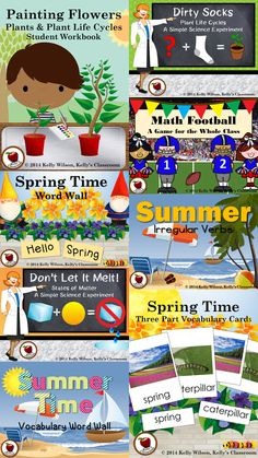 ($) Spring and Summer.  Activities and Resources.  Science Experiments.  Nomenclature Cards.  Vocabulary Cards.  Word Walls.  Plant and Life Cycles Mini-Unit.  #kellysclassroom