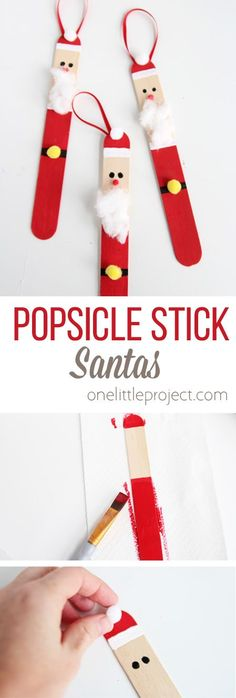 Stick Santas Create a DIY santa ornament out of popsicle sticks. These are SO CUTE and super easy to make!Create a DIY santa ornament out of popsicle sticks. These are SO CUTE and super easy to make! Kids Crafts, Christmas Crafts For Kids, Christmas Activities, Craft Stick Crafts, Christmas Projects, Kids Christmas, Holiday Crafts, Diy And Crafts, Christmas Pictures