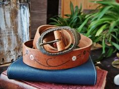 Vintage Leather Belt Tan Brown Tones Floral Flowers Pattern Women Woman Girl Bohemian Boho Gypsy Pants Skirt Short Accessories Clothing