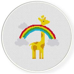 Charts Club Members Only: Giraffe Over The Rainbow Cross Stitch Pattern