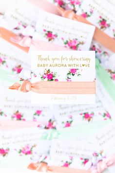 Floral Baby Shower Thank You Favor! #Pink, #Peach + #Mint #Floral Themed #Baby Girl's #Shower #Favor
