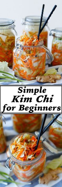 Kim Chi, a traditional fermented food from Korea made from cabbage, garlic, chilli and other vegetables is a nourishing food, full of probiotic goodness. It is rich in vitamins and as the vegetables are fermented and pre-digested by the lacto-bacilli natu Fermentation Recipes, Canning Recipes, Raw Food Recipes, Vegetable Recipes, Asian Recipes, Healthy Recipes, Homebrew Recipes, Freezer Recipes, Freezer Cooking