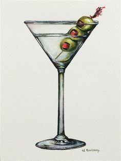 Love this watercolor painting from Ugallery. Martini by JJ Galloway.
