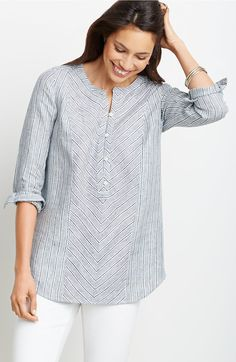 plus size linen multiseam striped tunic | J.Jill