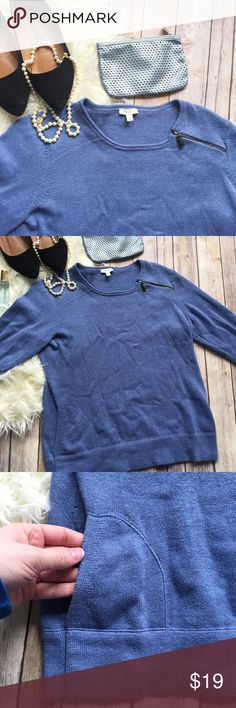 """Talbots light blue single side zip pull over Adorable casual sweatshirt material too with one side zip at the shoulder. Adorable with jeans or leggings. Gently used, but in excellent condition. Measurements laying flat: bust 20"""", length 27"""", arm 18"""" (elbow) Talbots Tops"""