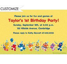 Custom elmo 1st birthday invitations thank you notes party city custom sesame street 1st birthday invitations party city filmwisefo