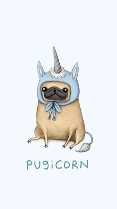 Because pugs are life and so are unicorns together they make life AMAZING Cute Dog Wallpaper, Tumblr Wallpaper, Black Wallpaper, Animal Drawings, Cute Drawings, Funny Animals, Cute Animals, Animals Dog, Dog Illustration